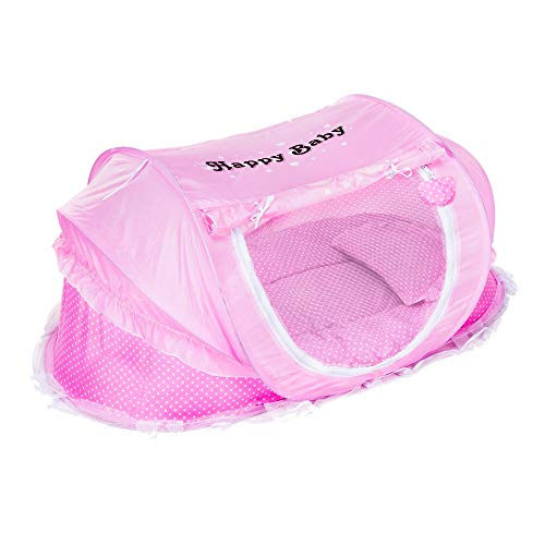 Baby Travel Bed Portable Foldable Baby Bed Mosquito Net Play Beach Tent with Cotton- Padded Mattress Pillow for 0-24 Month Baby (Pink)