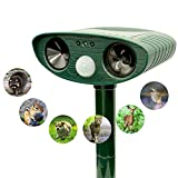 Solar Powered Ultrasonic Outdoor Animal Repeller|Effectively Scares Away Cats Dogs Squirrels Racoon etc - Motion Activated [2019 Upgraded Version]