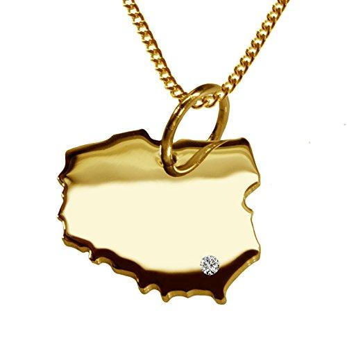 Endroit Exclusif Pologne Carte Pendentif avec brillant à votre Désir (Position au choix.)-avec Chaîne-massif Or jaune de 585or, artisanat Allemande-585de bijoux