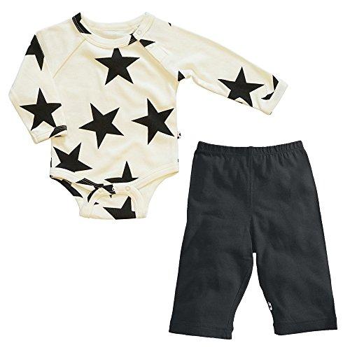 Babysoy Star Bodysuit/Romper + Comfy Solid Pants Playwear Set (12-18 Months, Pirate) (Comfy Bodysuit)