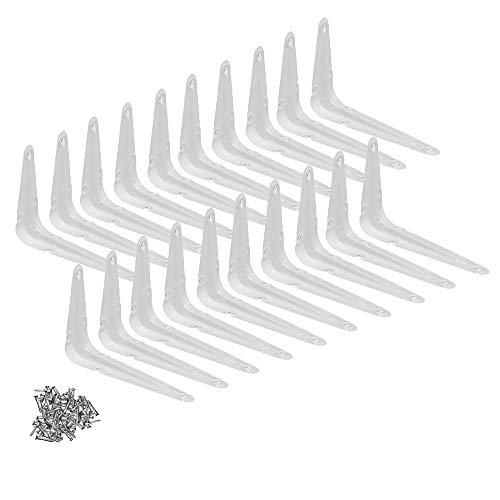 "Wideskall Metal 3"" x 4"" inch Wall Corner Angle Shelving Shelf Brackets, White, Pack of 20"