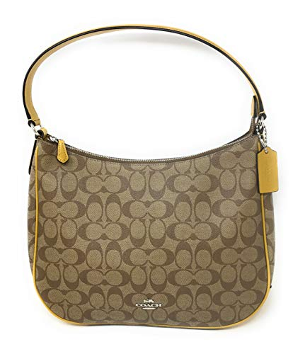 COACH F29209 ZIP SHOULDER BAG IN SIGNATURE CANVAS KHAKI FLAX