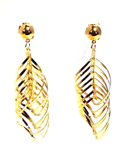 Hoop Diagonal (Clip-on Earrings Diagonal Swirl Hoop Drop Earrings Gold or Silver Tone (Gold))