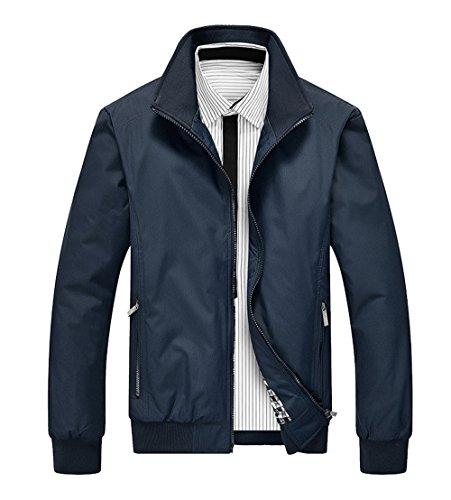 Outwear Invernali Collo Scuro E Jacket Zip Haroty Casual Manica Eleganti Xl blu Uomo Alto Tasche Autunno Cappotto Da Classico Con Lunga Giacca qI4P6
