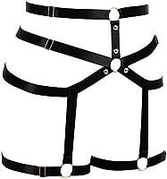 PETMHS Womens Punk Leg Harness Garter Belt Body Elastic Strappy Thigh Waist Stockings Suspender Gothic Harajuku Garters
