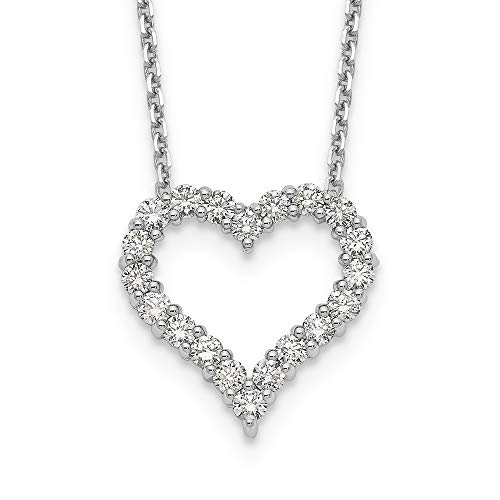 1 Carat Lab Grown Diamond Heart Pendant, Set in 14k Gold, Complete with 18 Inch 14k Gold Chain (Color DEF, VS/SI Clarity) (White-Gold)
