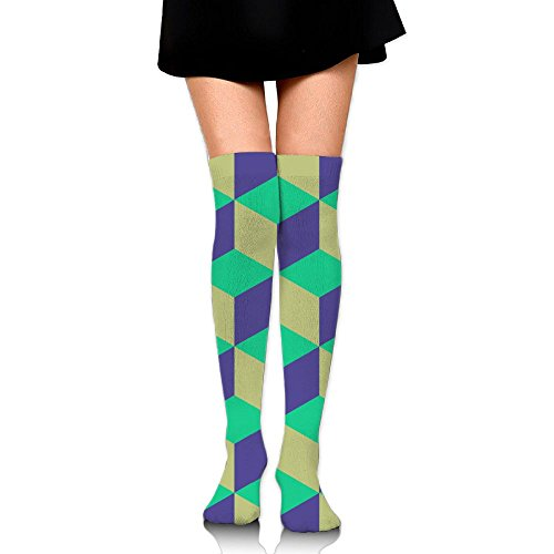 Turquoise Square Womens Novelty Knee High Compression Socks Sports Running Socks ()