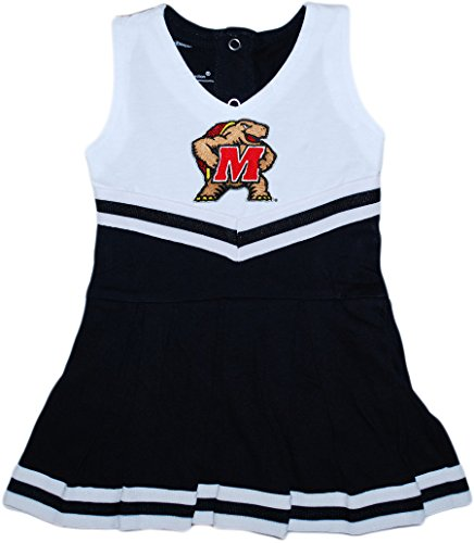 Creative Knitwear University of Maryland Terp Baby and Toddler Cheerleader Bodysuit Dress Black