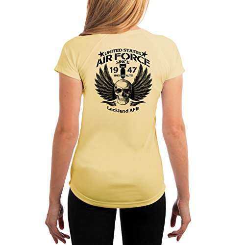 Dead Or Alive Clothing Air Force Lackland Air Force Base Women's UPF 50+ Short Sleeve T-Shirt X-Small Pale Yellow ()