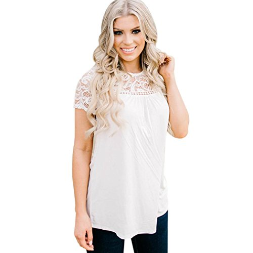 Anxinke Women Short Sleeve Lace Patchwork O-Neck Casual Loose T Shirts Tops (XL, White)