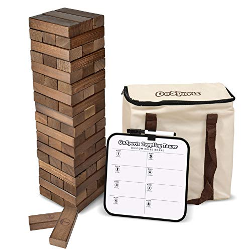 GoSports Large Dark Stain Toppling Tower with Bonus Rules | Starts at 1.5' and Grows to Over 3' | Made from Premium Brown Stained Blocks]()