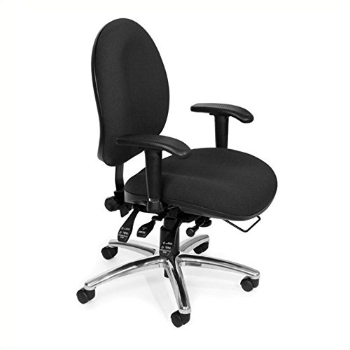 OFM 24 Hour Big and Tall Ergonomic Task Chair – Computer Desk Swivel Chair with Arms, Black (247)