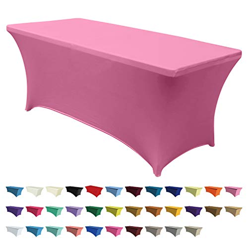ABCCANOPY 30+ Colors Spandex Table Cover 6 ft. Fitted Polyester Tablecloth Stretch Spandex Tablecover-Table Toppers(Pink)
