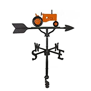 Montague Metal Products 32-Inch Weathervane with Orange Tractor Ornament