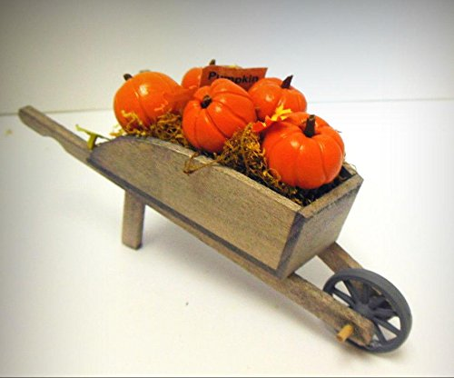 Dollhouse Miniature Halloween Wood garden wheelbarrow filled with fimo pumpkins - My Mini Fairy Garden Accessories for Outdoor or House ()