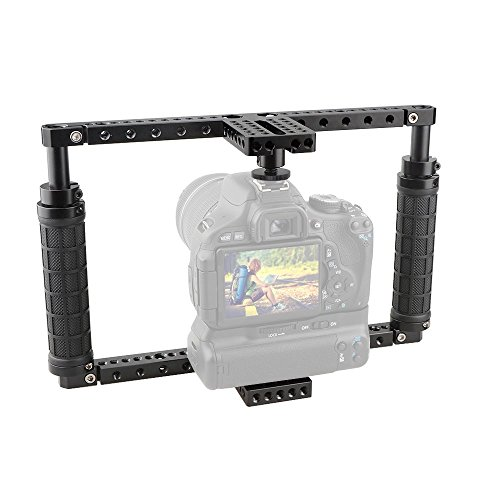 CAMVATE Battery Grip Camera Cage with QR Hot Shoe Adapter for DSLR Cameras