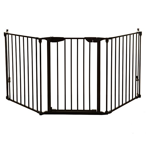 Dreambaby Newport Adapta Baby Gate - Use at Top or Bottom of Stairs - for Straight, Angled or Irregular Shaped Openings (Black)