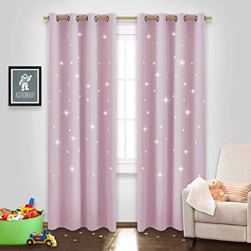 "NICETOWN Star Cut Out Curtains - Die-Cut Star Blackout Drapes Window Treatment Draperies for Space Theme Bedroom (Lavender Pink=Baby Pink, 2 Panels, 52"" x 84"") from NICETOWN"