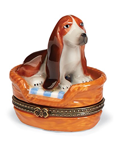Basset Hound Trinket Box - Small Porcelain Hinged Treasure Box