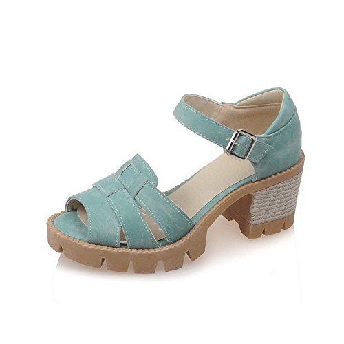 AllhqFashion Mujeres Hebilla Tacón ancho Sólido Puntera Abierta Sandalias de vestir Azul