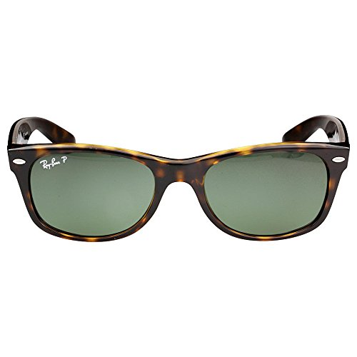 Ray-Ban Unisex New Wayfarer Polarized Sunglasses, Tortoise Frame/Green Polarized Lenses, Green Classic G-15 Polarized, - Polarized G 15
