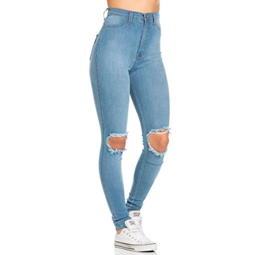 Ripped Knee Super High Waisted Skinny Jeans in Light Blue chic ...