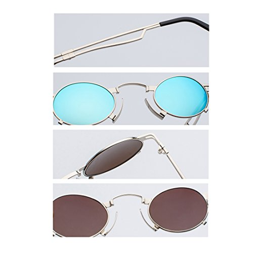 sunglasses metálico Caja gafas gafas Yefree marco sunglasses pequeñas UV400 sol ovaladas Plata Negro redondas Vintage de de Men Gris 5WAA6q4
