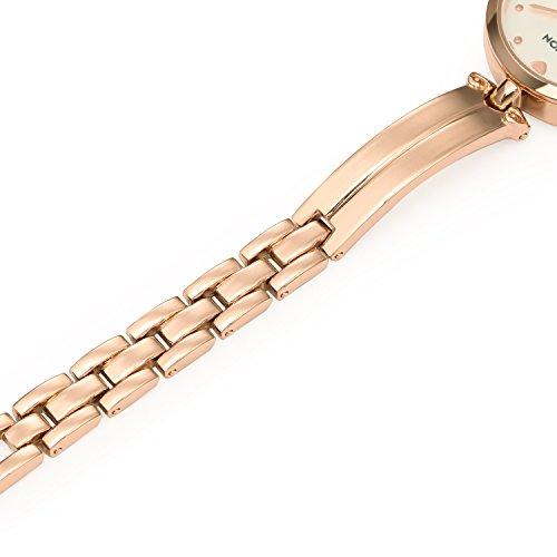 ETEVON Women Quartz Rose Gold Wrist Watch with Stylish Bracelet Stainless Steel Fashion Luxury Dress Bangle Watches for Women Ladies Girls