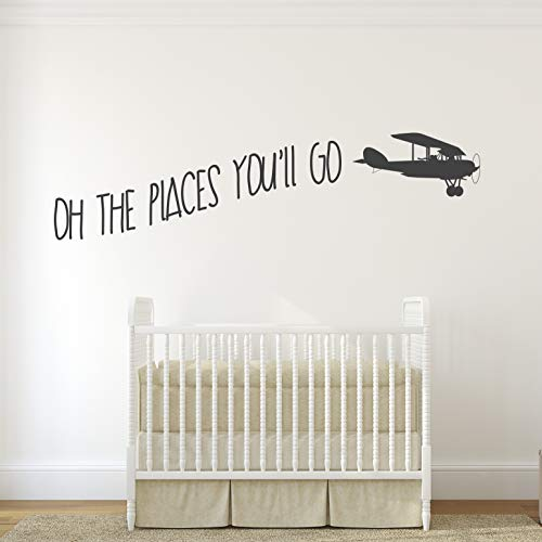 Oh The Places Youll Go with Vintage Aeroplane Kids Room Vinyl Matt Wall Decal Sticker.