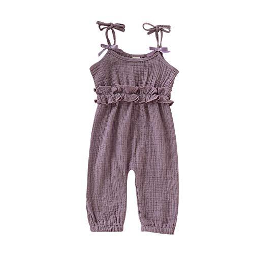 - Kids Newborn Infant Baby Girls Summer One Piece Romper Clothes Jumpsuit Ruffled Halter Bodysuit (Purple, 12-18 Months)