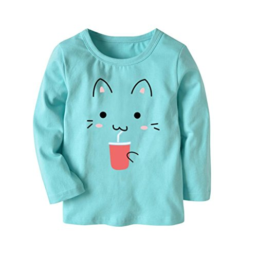 0c2d408b284d Amazon.com  Vibola® Baby t-Shirt Long Sleeve Toddler Cartoon Cat Printing T- Shirt  Clothing