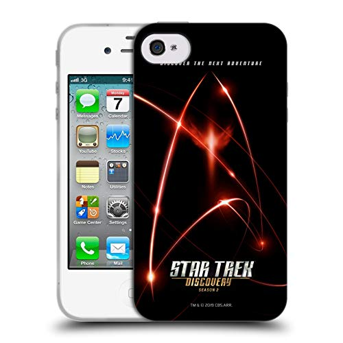 Official Star Trek Discovery 7 Red Signals Discovery Season 2 Poster Soft Gel Case Compatible for iPhone 4 / iPhone 4S (Star Trek Iphone 4 Case)