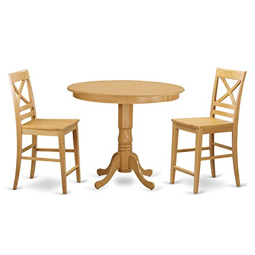 East West Furniture TRQU3-OAK-W 3 Piece Counter Height High Table and 2 Kitchen Bar Stool Set - 2 Piece Oak Desk