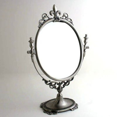 Brushed Nickel 15''H Adjustable Fleur de Lis Vanity Mirror by Liards