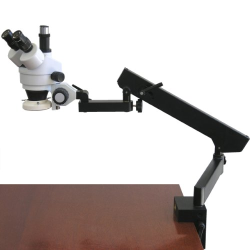 AmScope SM-6T-FRL Professional Trinocular Stereo Zoom Microscope, WH10x Eyepieces, 7X-45X Magnification, 0.7X-4.5X Zoom Objective, 8W Fluorescent Ring Light, Clamping Articulating Arm Stand, 110V-120V by AmScope