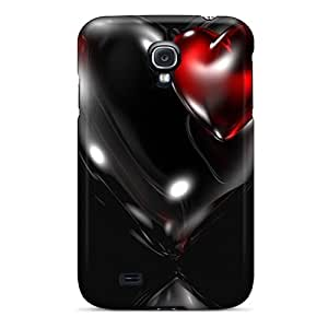 Durable Defender Case For Galaxy S4 Tpu Cover(3d Black Water Heart)
