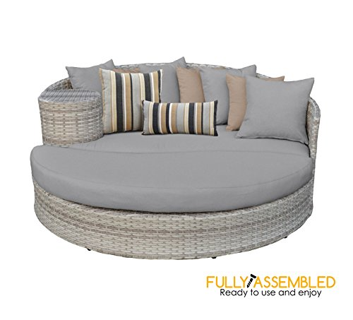 All Weather - Daybed - Chaise Lounge - Freemount by bOutdoors Round Sun Bed - Outdoor Wicker Sofa Patio Furniture - Grey (Round Outdoor Day Bed)