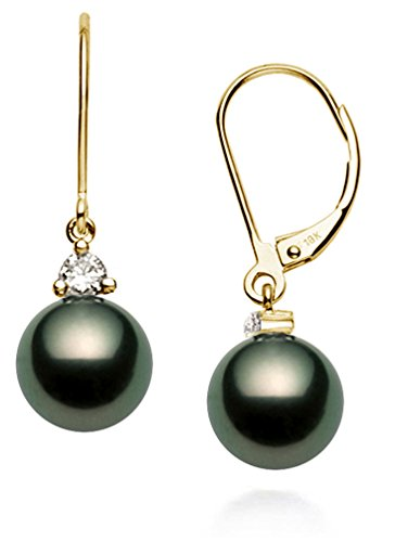 18k Yellow Gold AAAA Quality Black Tahitian Cultured Pearl Diamond Leverback Dangle Earrings (9-10mm)