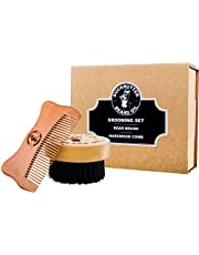 "DUCKBUTTER Grooming Set - Beard Brush & Comb Boxed Gift Set - Made from Peach Wood & Natural Boar Bristles - 1"" Bristles & Teeth for Facial Grooming"