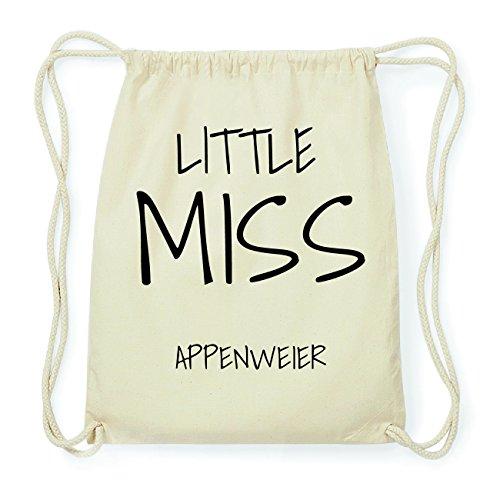 JOllify APPENWEIER Hipster Turnbeutel Tasche Rucksack aus Baumwolle - Farbe: natur Design: Little Miss