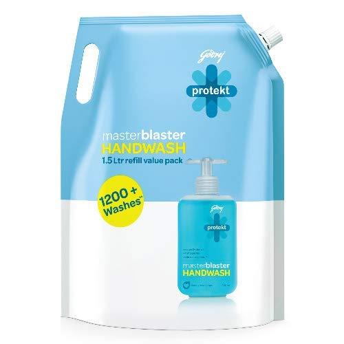 Godrej Protekt Germ Fighter Handwash Refill, Aqua - 1.5 L, 99.9% Germ Protection, with Glycerin & Coconut Oil