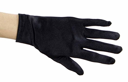 Beautiful Wrist Length Short Satin Gloves in 34 Colors Assorted Glove Colors: Black]()
