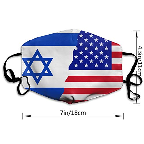 American Israel Flag Mouth Mask,Anti Dust Face Mask,Washable Reusable Mouth Cover Masks White