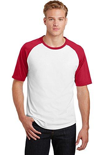 (Sport-Tek Mens Short Sleeve Colorblock Raglan Jersey (T201) -WHITE/RED -L)