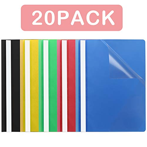 WIWAPLEX Clear Front Report Covers, Plastic Prong Side Fastener with Compressor, 5 Colors File Folders, FC Size/A4 Size Document Cover for Office School, 20 per -