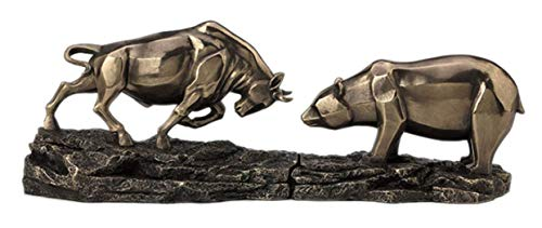 - Stock Market Bull Bear Standoff Set Statue Figurine Cold Cast Bronze