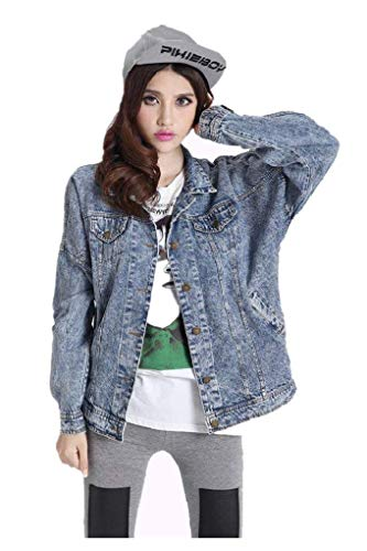 Autunno Stile Fashion Eleganti Primaverile Cappotto Casual Vintage Giacche Lunghe Ragazze Casuale Giacca Outerwear Bavero Maniche Battercake Jeans Streetwear Donne Blu Relaxed Donna q7AAU