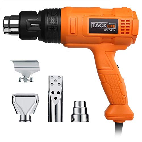 TACKLIFE Heat Gun 1500W 122℉~1022℉(50℃~550℃) - Adjustable 3 Temp/Flow-settings, Unique Cooling Mode, 4 Nozzle Attachments(Working Time Over 500 Hrs) - HGP70AC