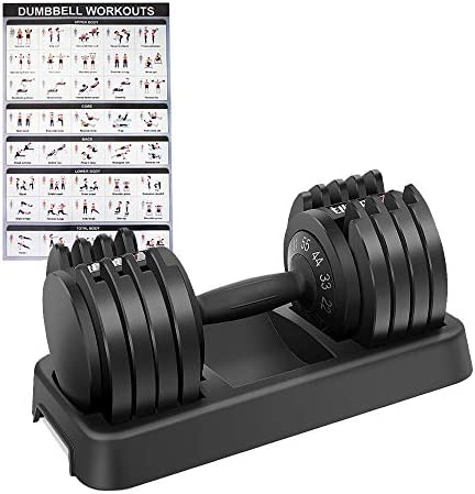 EnterSports Adjustable Dumbbell 55 lb Single Dumbbell