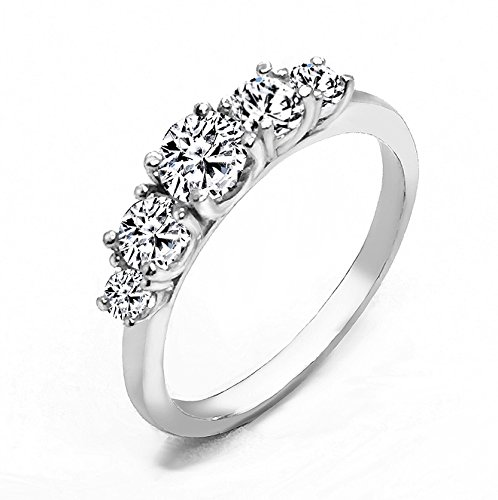 Realistic Top Grade 5 Stones Simulated Diamond Ring Stackable Solid 925 Silver ()